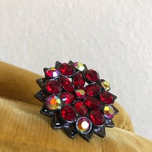 Red Flower Stretchy Ring !